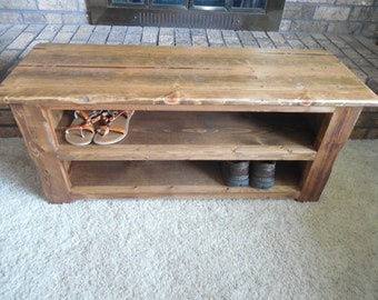 Rustic Distressed Shoe Bench