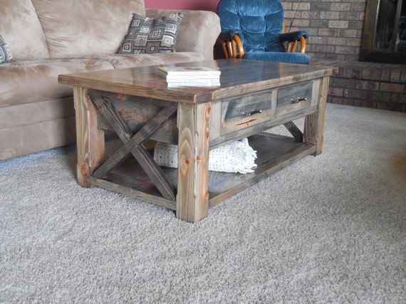 Rustic Coffee Table With Drawers Breadboards X End Etsy