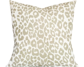 Schumacher Iconic Leopard In Linen Throw Pillow Cover - Decorative Pillow - Toss Pillow - Solid Cream Linen Back - ALL SIZES AVAILABLE