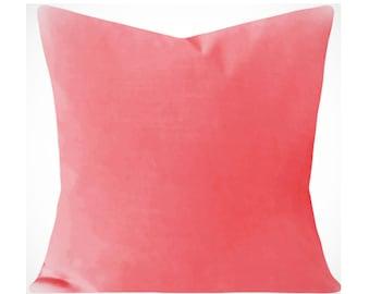 Coral Velvet Pillow Cover - Decorative Pillow - Both Sides - 12x16, 12x20, 14x18, 14x24, 16x16, 18x18, 20x20, 22x22, 24x24, 26x26