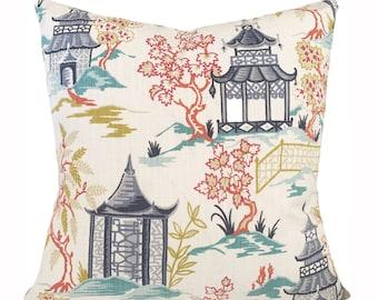 Covington Asian Pagoda Pillow Cover - Throw Pillow - Both Sides - 14x18, 14x20, 14x24, 16x16, 18x18, 20x20, 22x22, 24x24, 26x26