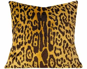 Scalamandre Leopard Silk Velvet Pillow Cover - Solid Velvet Back - 10x20, 12x16, 12x20, 14x24, 16x16, 18x18, 20x20, 22x22, 24x24, 26x26