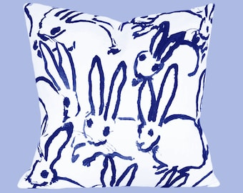 Lee Jofa Groundworks Hutch Bunny Throw Pillow Cover - Decorative Pillow - Toss Pillow - Solid White Linen Back - ALL SIZES AVAILABLE