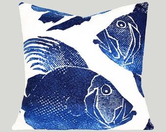 Navy Blue Grouper Fish Outdoor Throw Pillow Cover - Both Sides - 12x16, 12x20, 14x18, 14x20, 14x24, 16x16, 18x18, 20x20, 22x22, 24x24