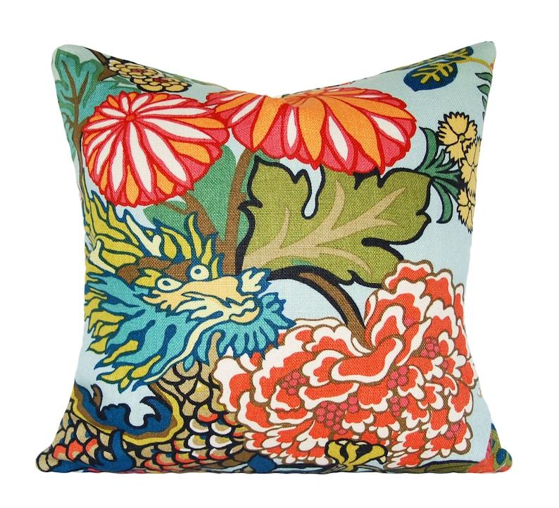 Schumacher Chiang Mai Dragon Aquamarine Decorative Pillow image 0