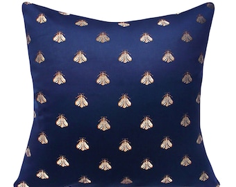 Bee Navy Blue Throw Pillow Cover - Decorative Pillow - Both Sides - 12x16, 12x20, 14x18, 14x20, 14x24, 16x16 18x18, 20x20, 22x22, 24x24