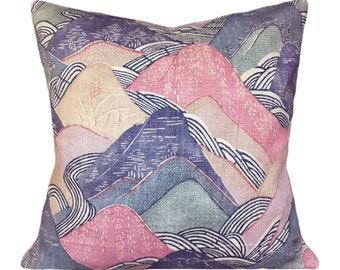 Kelly Wearstler Edo Linen Opal Throw Pillow Cover - Decorative Pillow - Toss Pillow - Solid Velvet Back - ALL SIZES AVAILABLE