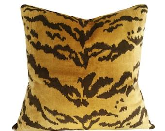 Scalamandre Le Tigre Silk Velvet Pillow Cover - Solid Velvet Back - 10x20, 12x16, 12x20, 14x24, 16x16, 18x18, 20x20, 22x22, 24x24, 26x26