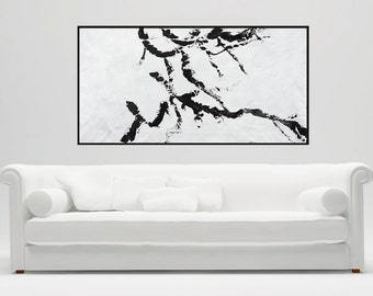 "Hand paint Large Wall Art 60"" acrylic abstract painting home decor office decor black white"
