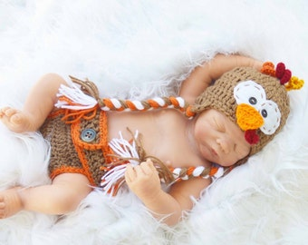 Thanksgiving turkey hat, newborn turkey outfit, newborn turkey hat diaper cover, baby turkey set, crochet turkey hat, turkey hats prop