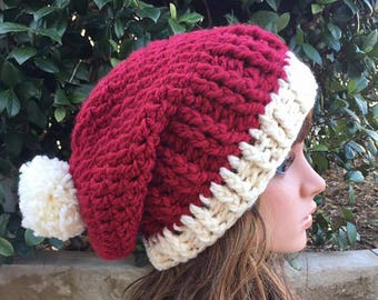 womens santa hat, christmas hat, slouchy hat, ladies santa hat, christmas hats, crochet hats, slouchy hats, slouch hat