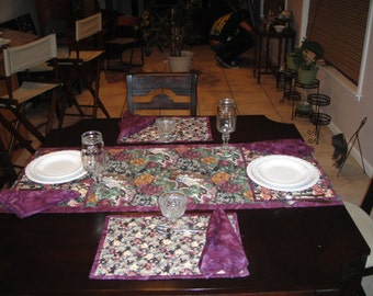 Asian Table runner with matching place mats and napkins