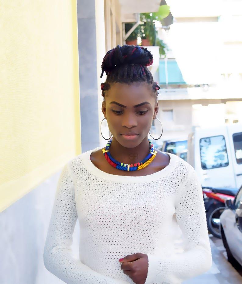 bijoux ethniques bijoux afro african fabric necklace African bib necklace birthday gift collier en tissu wax ankara fabric necklace