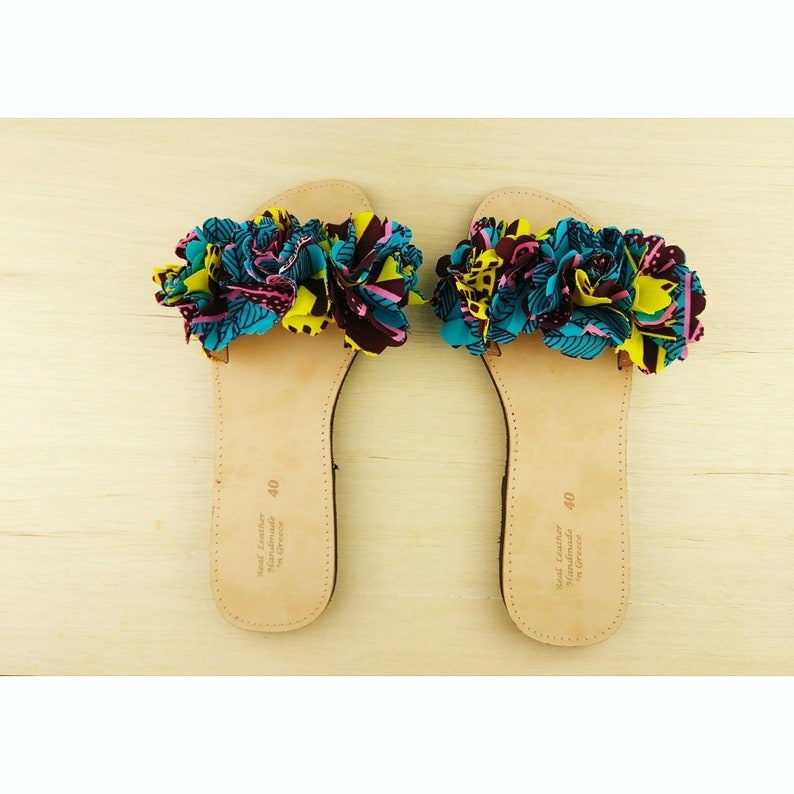 878a24421 African fabric flower slippers sandals summer shoes