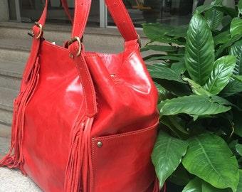 Red leather hobo purse, fringes hobo bag, oversized leather bag