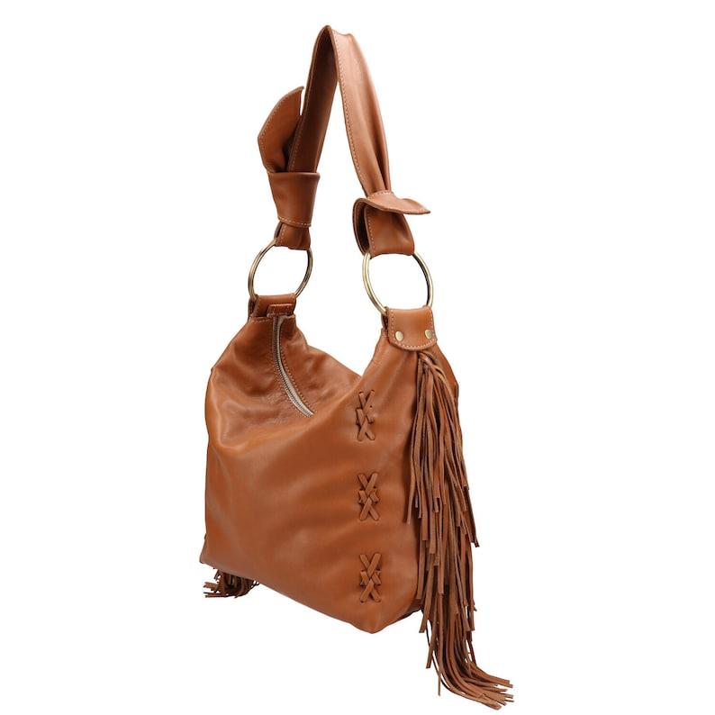 4ac59b930b238 Fransen-Leder-Tasche mit Bronze Ringe braun Leder Hobotasche