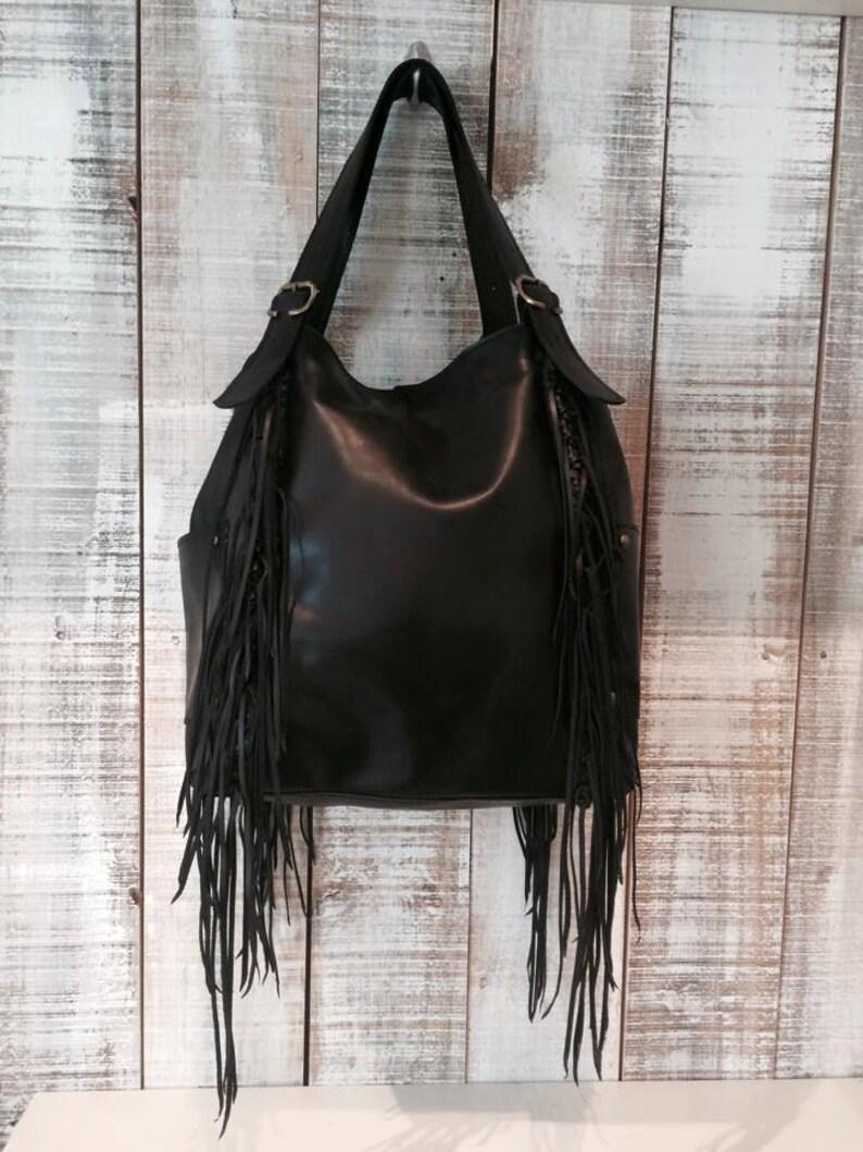 a3754c79e0 Black hobo bag purse fringe bag black leather purse
