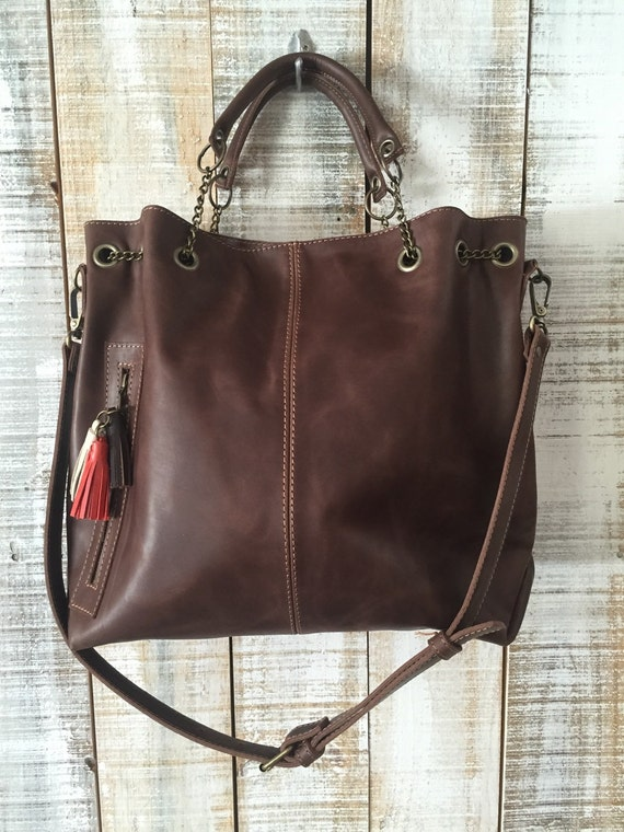 5151aa8e590f Leather bag Oversize crossbody bag Women purse ready to