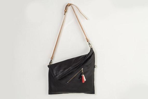 17b01d1609bb Black crossbody bag leather cross body purse foldover