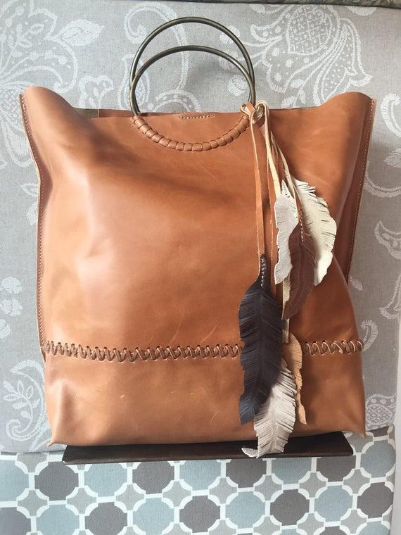 d0f8daeb486d Tan Leather Bag Oversized Handbag Tan leather tote Oversize