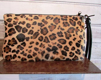 Leopard print clutch, Black leather and foal fur clutch, Evening leather clutch, Leather purse, wallet, pouch