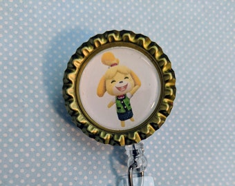 Animal Crossing Leaf Badge Reel or Key Chain or Necklace