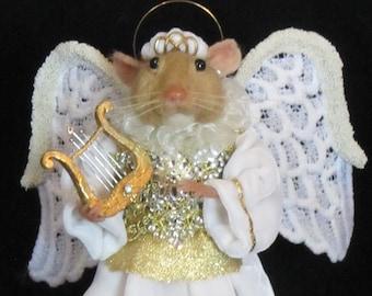 Needle Felted Mouse/OOAK Mixed Media Mouse/Handmade Art Doll/Angel