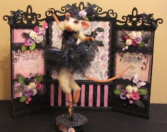 Needle Felted Mouse/Black Swan/OOAK Mixed Media Mouse/Handmade Art Doll/ Ballerina