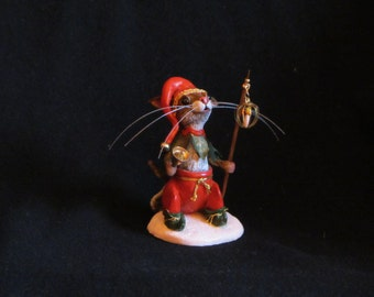 Christmas Mouse OOAK Polymer Clay Sculpture