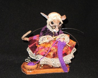 Grandma Mouse Polymer Clay OOAK Sculpture