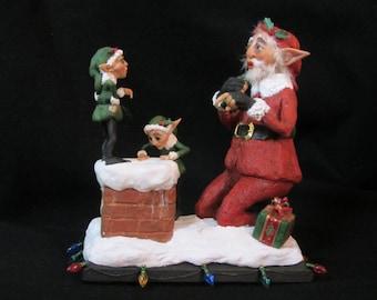 Santa's First Chimney/OOAK Polymer Clay Sculpture