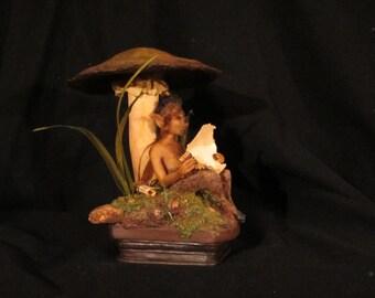 Mushroom Fairy OOAK Mixed Media Sculpture with Fairy Lights