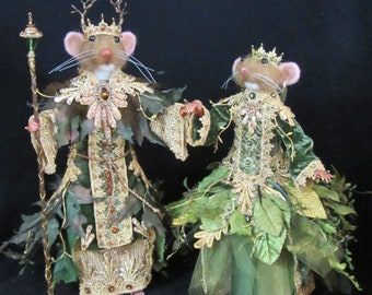 Needle Felted Mice/OOAK Mixed Media Mouse/ Handmade Art Dolls/ King and Queen