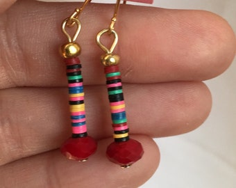 African trade beads with red crystal dangle earrings