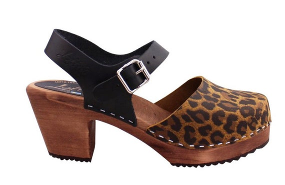 High wood Leopard Print And Black With Brown Base