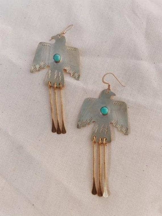 Brass + Turquoise Thunderbird Earrings