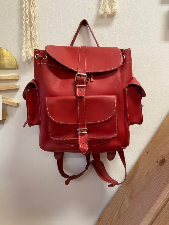Vintage Red Leather Grafea Made In England Backpack