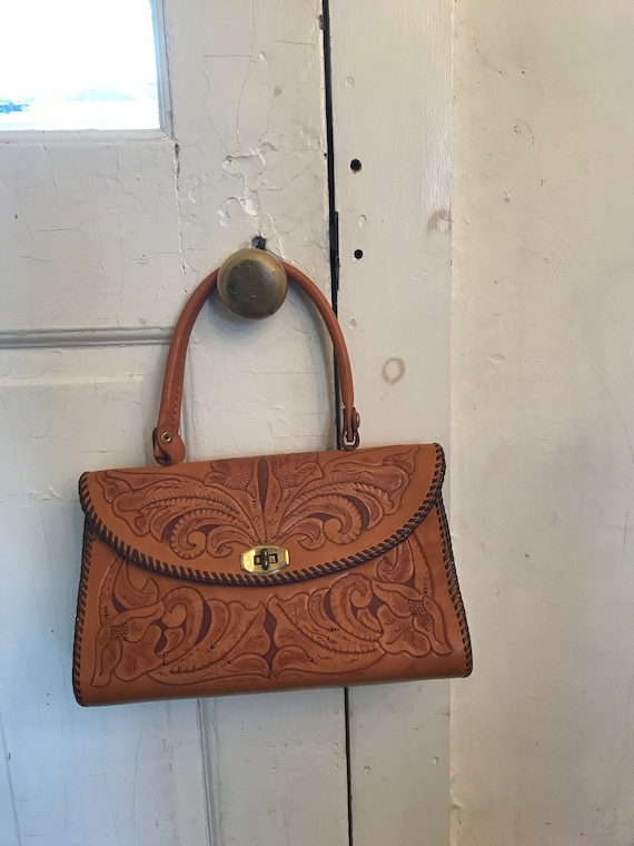 Vintage Hand Tooled Leather Top Handle Bag