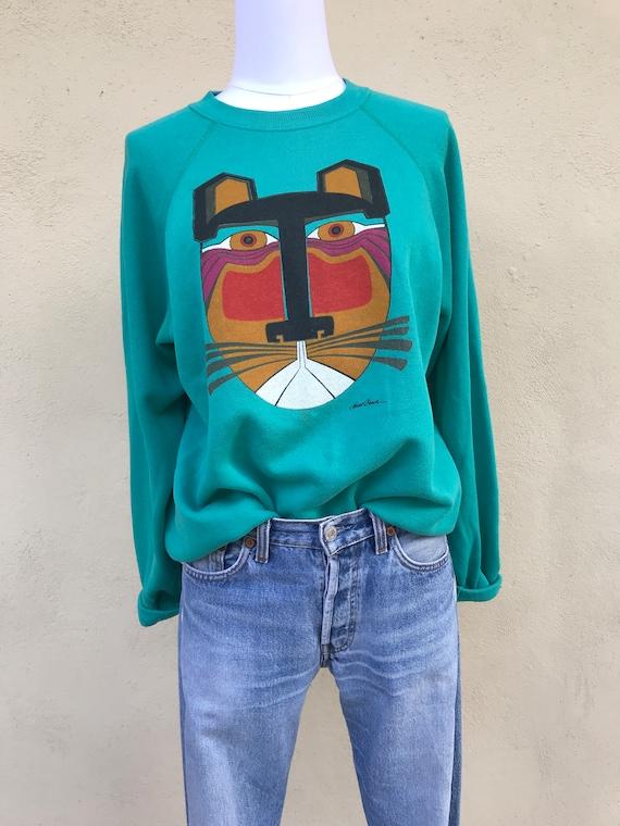 Vintage Sun Faded Azteca Cat Sweatshirt