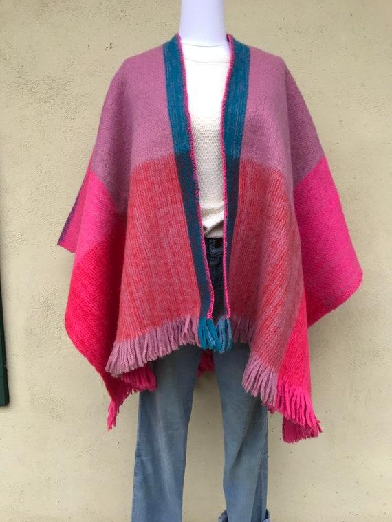 Vintage Fringe Blanket Style Poncho