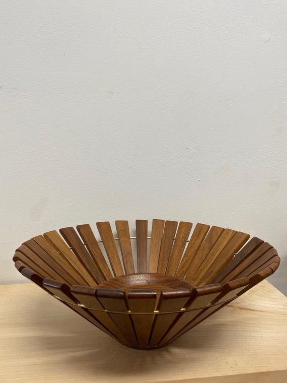 Mid Century Teak Slat Wood Bowl