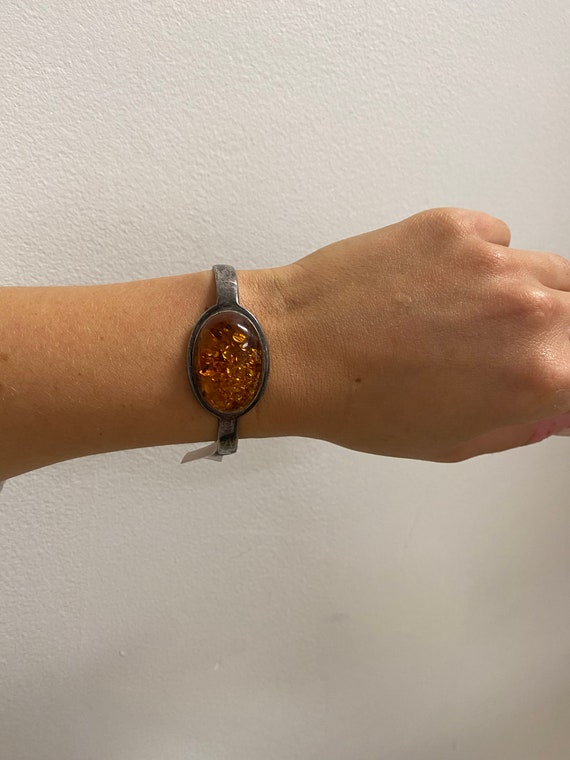 Vintage Amber + Sterling Silver Cuff