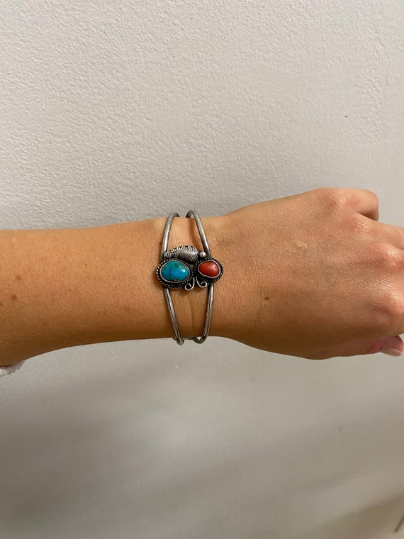 Vintage Sterling Silver + Turquoise Cuff