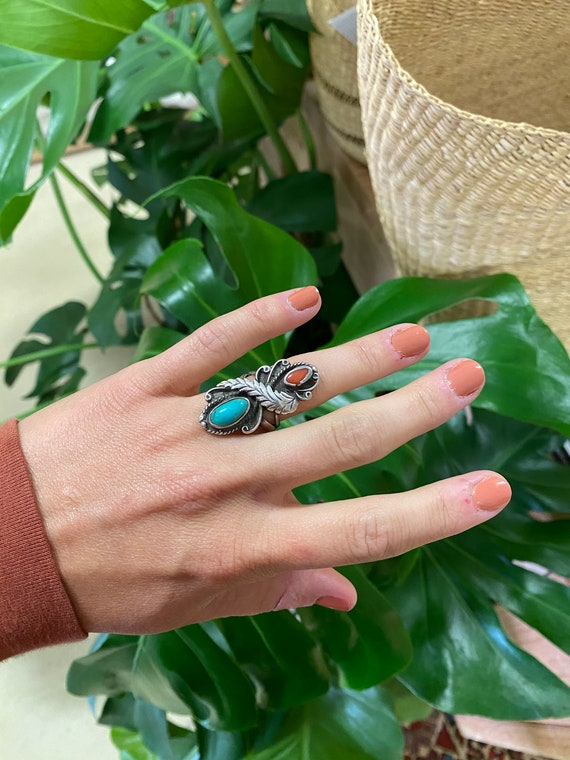 Vintage Sterling Silver + Turquoise Ring Size 6