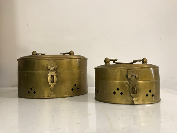 Set Of Two Vintage Brass Cricket Boxes