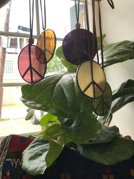Handmade Stained Glass Peace Sign
