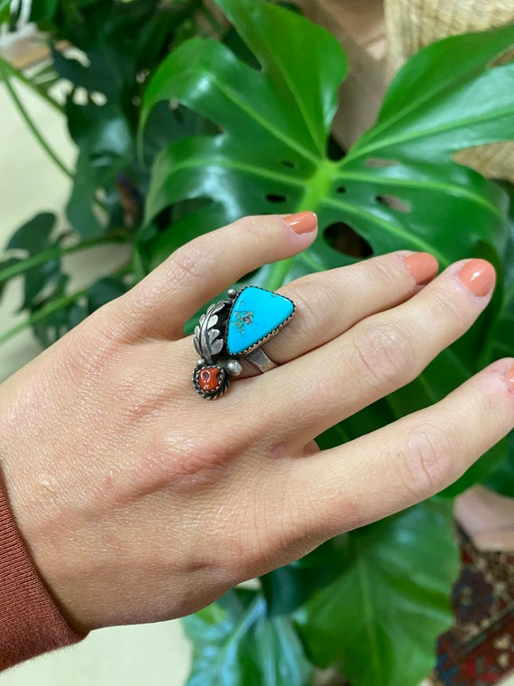 Vintage Sterling Silver + Turquoise Ring Size 10