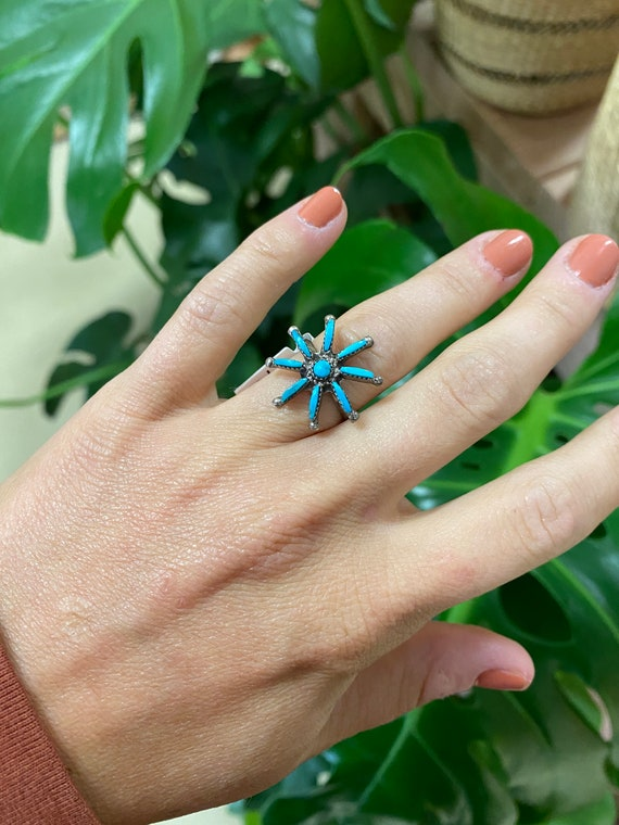 Vintage Sterling Silver + Turquoise Ring Size 7