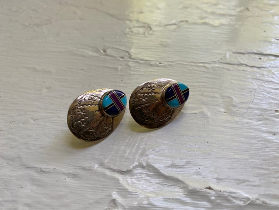 Vintage Sterling Silver + Turquoise Etched Studs