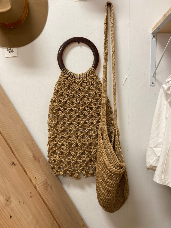 Vintage Net Shopper Round Top Handle Bag